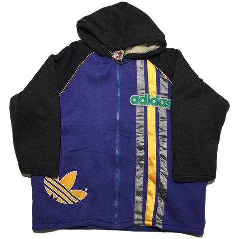Adidas Vintage Blue and Yellow Zip Up Hoodie