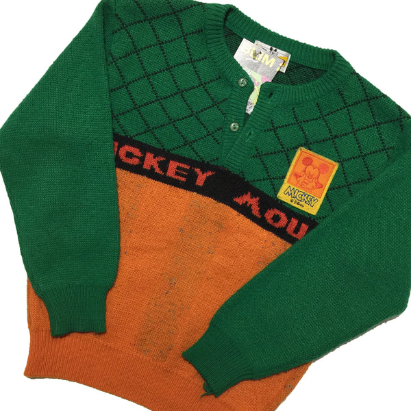 Mickey Mouse Youth Green and Orange  Sweater
