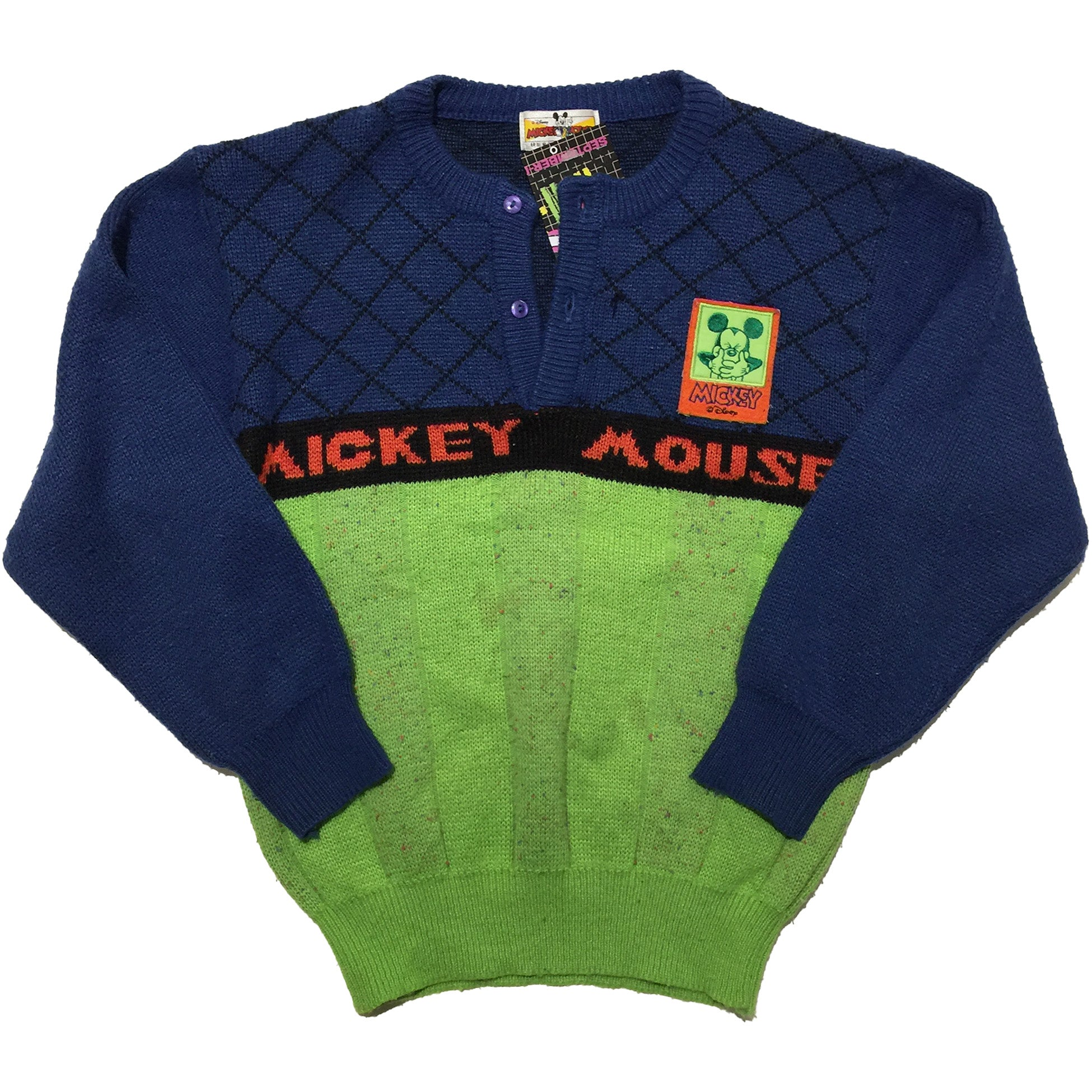 Mickey Mouse Youth Blue and Green  Sweater