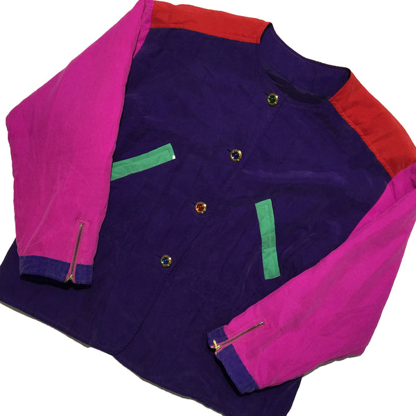Vintage Colour Block Silk Button Up Jacket