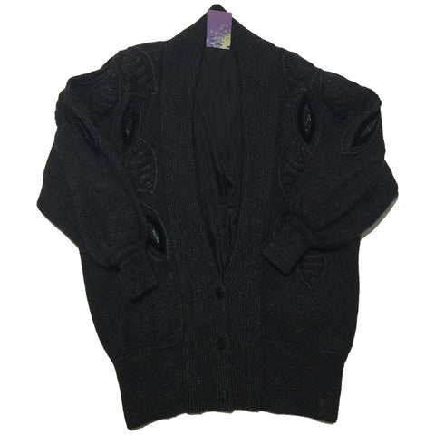 Black Wool Acrylic Wool Sweater