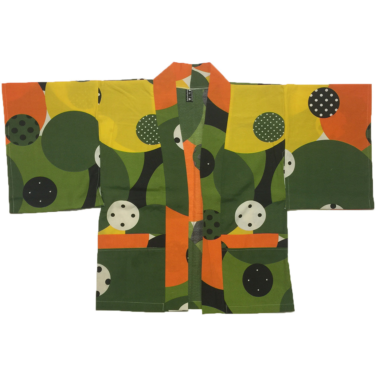 Green, Yellow, Green Circle Pattern Haori