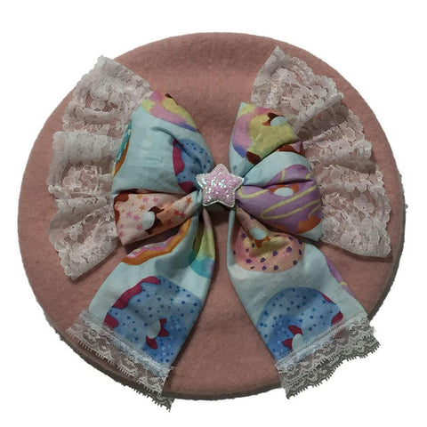 Custom Beret by Candelicious Pink Beret with Cake Bow