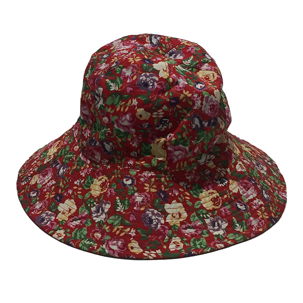 Red Floral Bucket Hat by Kansai