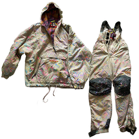 Hand Splattered White Ski Suit Set