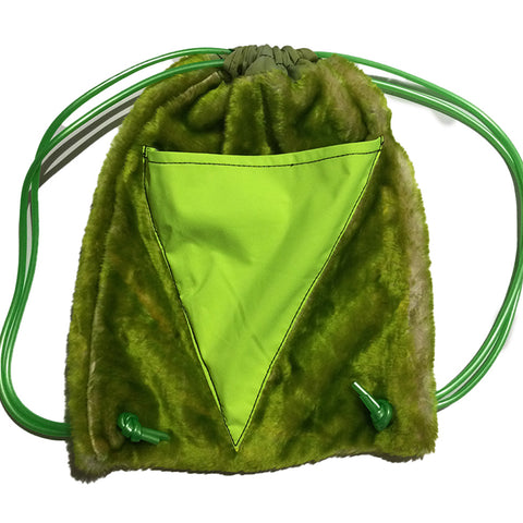 Adjustable Sling Bag Green Fleece With Pouch