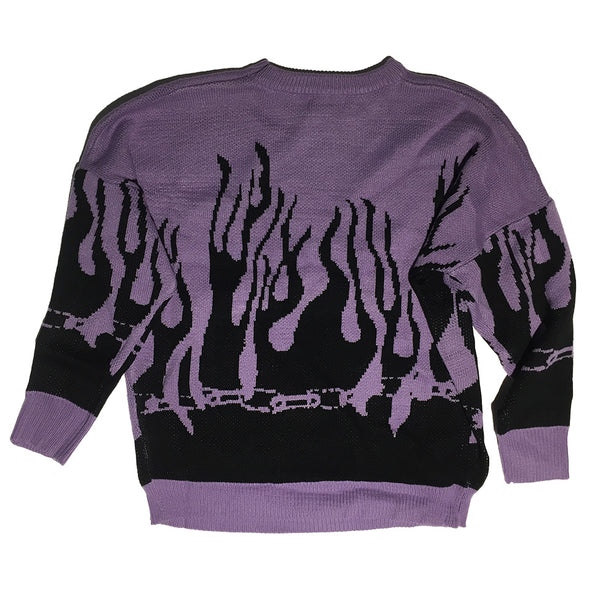 Purple Black Flame Sweater