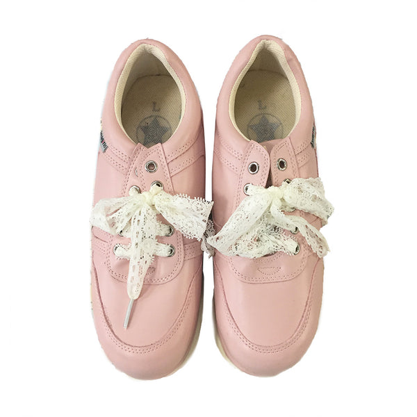 Pink High Heeled Sneakers with Lace Laces