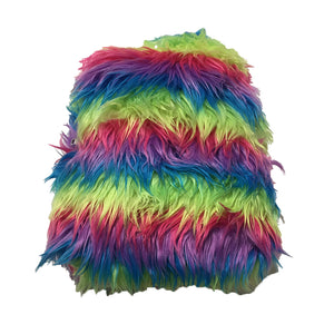 Faux Fur Pastel Rainbow Stripe Backpack by ACDC Rag