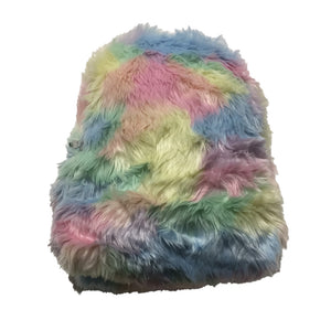 Faux Fur Pastel Rainbow Pink Backpack by ACDG Rag
