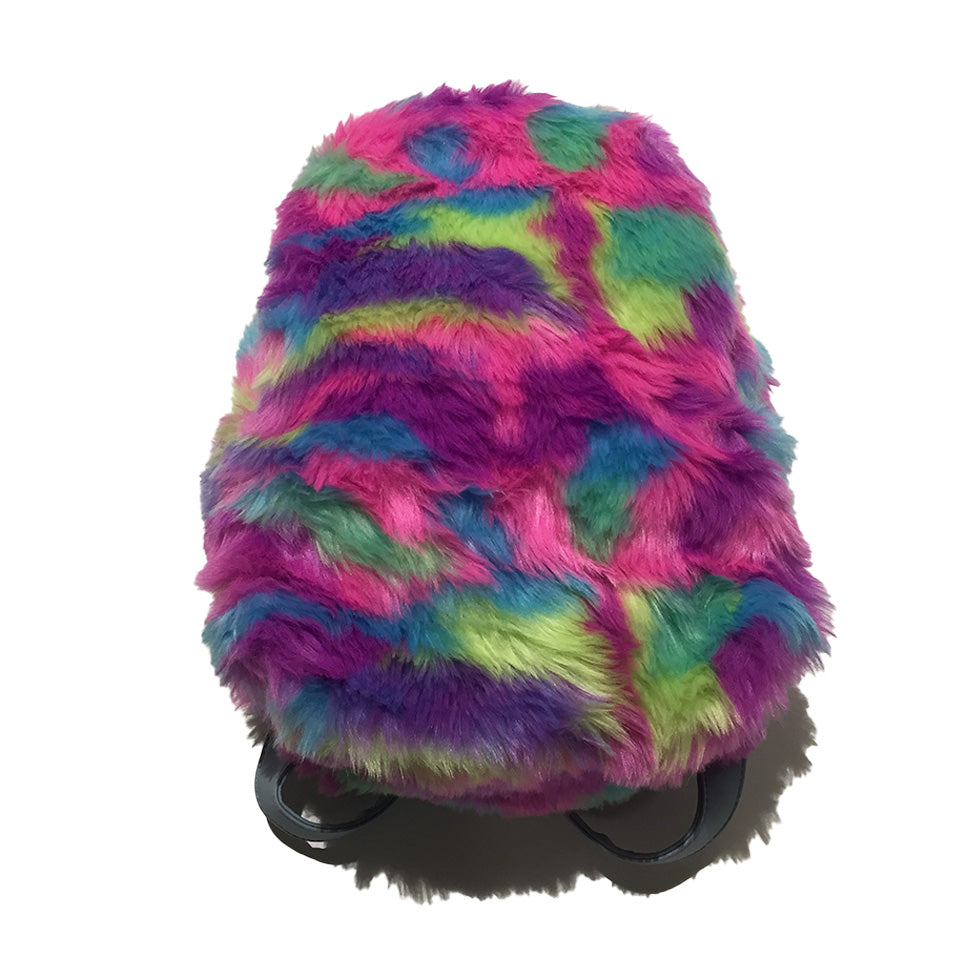 Faux Fur Rainbow Pink Backpack