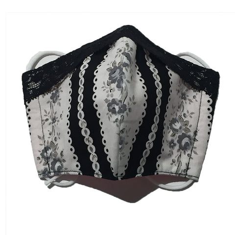 Black and White with Lace Face Mask by Candelicious
