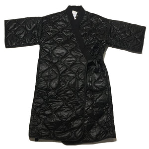 Black Quilted Kimono Inspired Long Coat