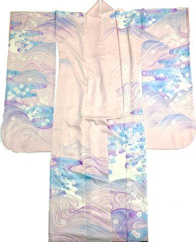 Pink and Blue Silk Furisode Kimono