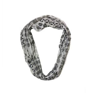 White and Black Pattern Circle Scarf