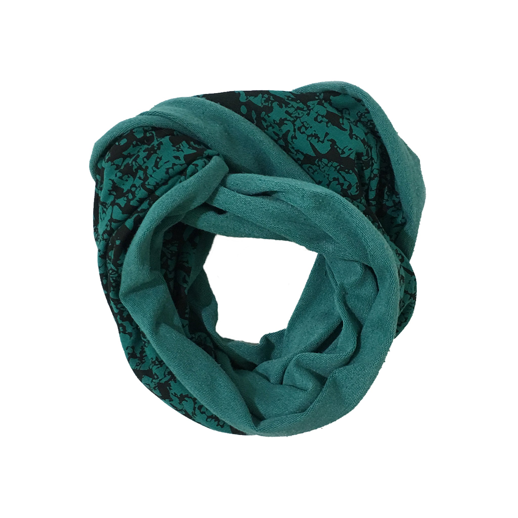 Green and Black Pattern Circle Scarf