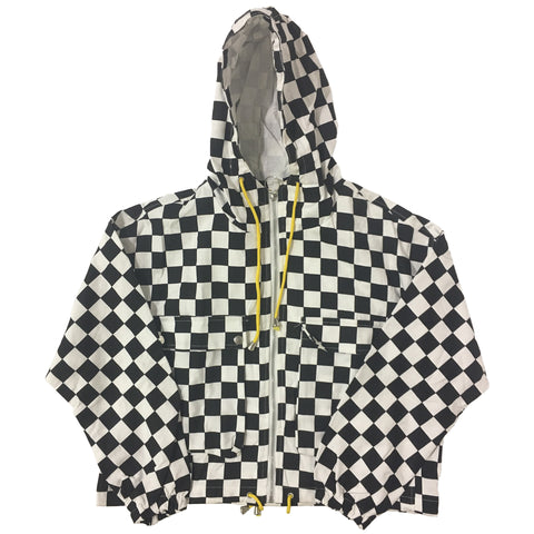 Black and White Checkered Canvas Jacket