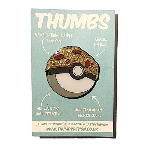 Pokeball Pizza Glitter Enamel Pin Badge by THUMBS
