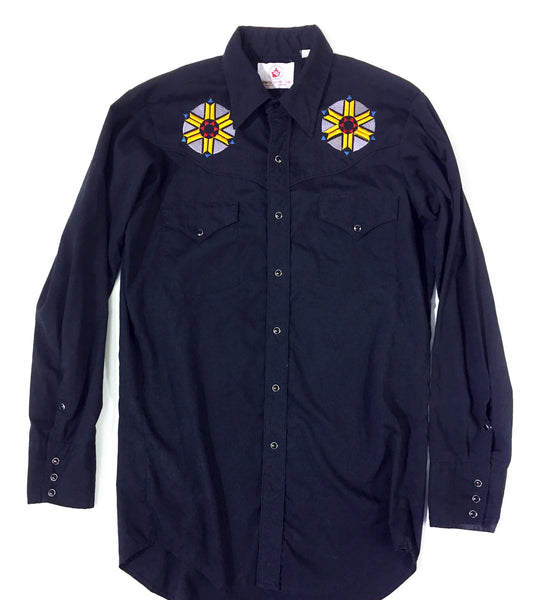 Starburst Embroidered Rodeo Cowboy Button Up