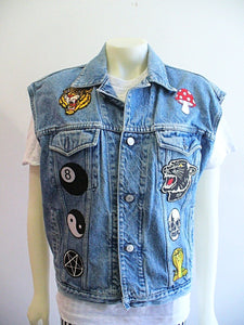 One of a Kind Denim Vest w/ Patches