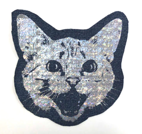 Holographic Foil Denim Kitty Patch