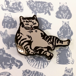 Relaxing Cat Pin by Horse Fiddle Press