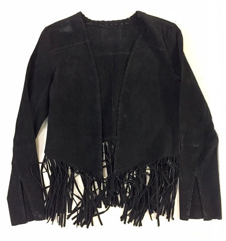 Black Leather Fringe Jacket