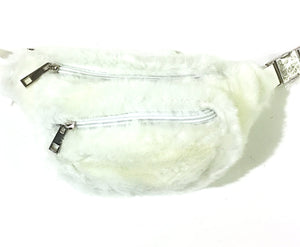 White Fuzzy Faux Fur Fanny Pack