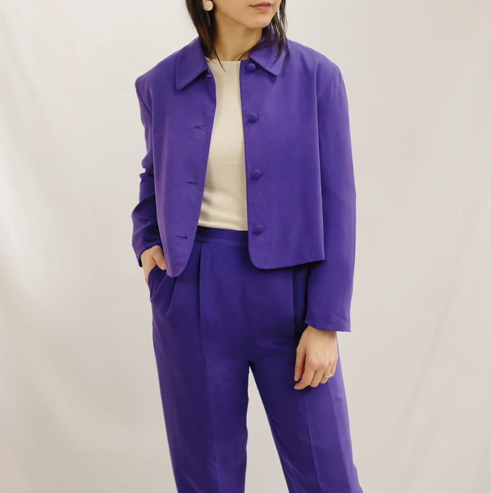 Vintage Violet Brushed Silk Two-Piece