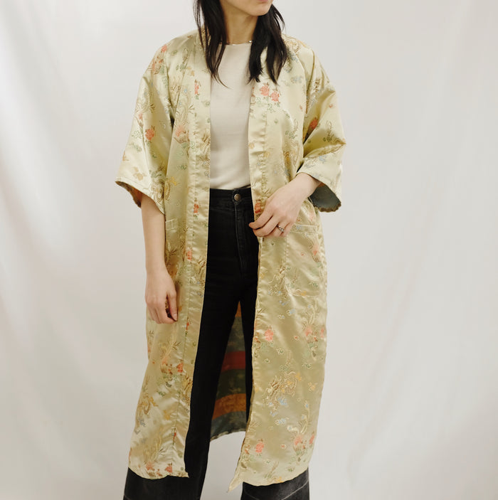 Vintage Gold Iridescent Silk Robe