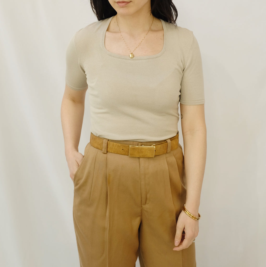 Vintage Taupe Silk Knit Top