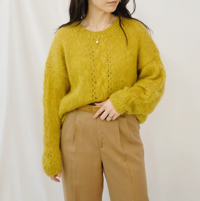 Vintage Dijon Slouchy Knit Mohair Pullover
