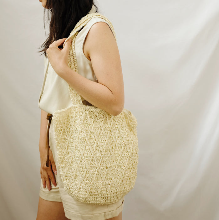 Vintage Cream Slouchy Woven Tote