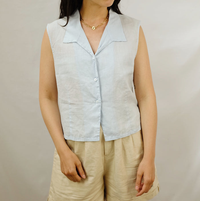 Vintage Powder Blue Linen Top