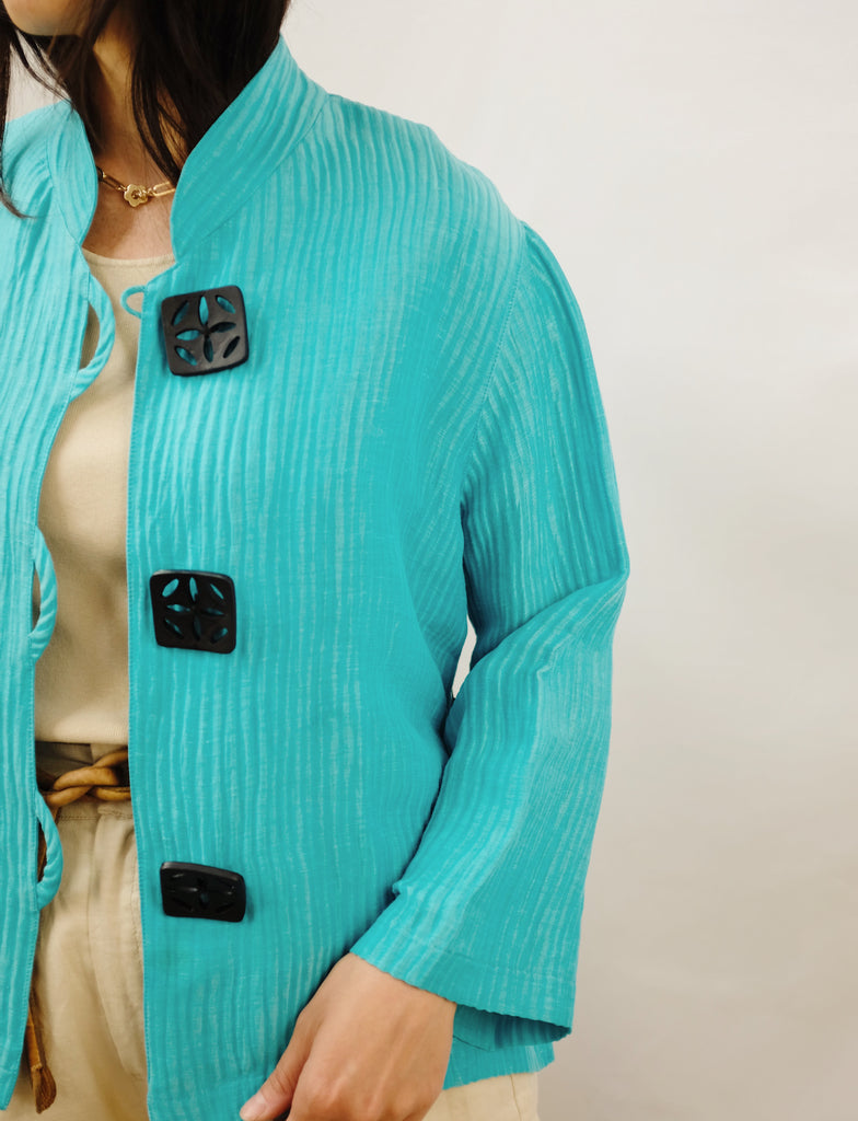 Vintage Teal Silk + Linen Lightweight Jacket