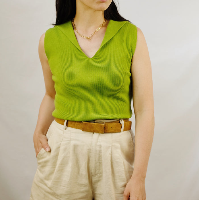 Vintage Pear Silk Ribbed Top