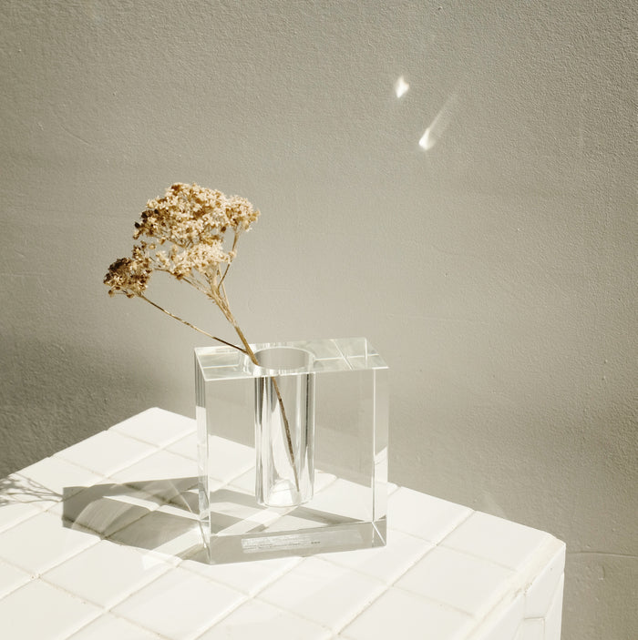 Clear Glass Block Vase