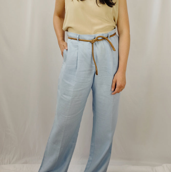 Vintage Powder Blue Linen Trousers