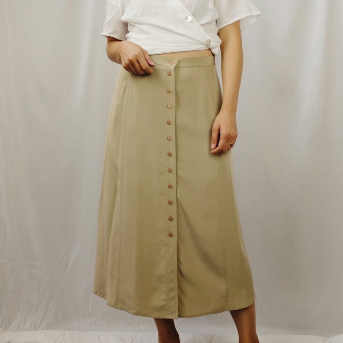 Vintage Sand Brushed Silk Skirt