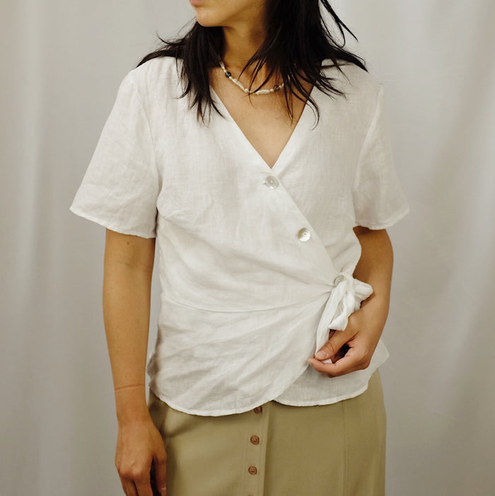 Vintage White Linen Wrap Top