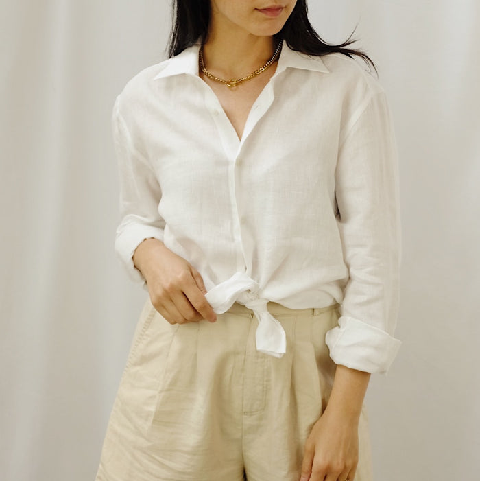 Vintage White Linen Button Up