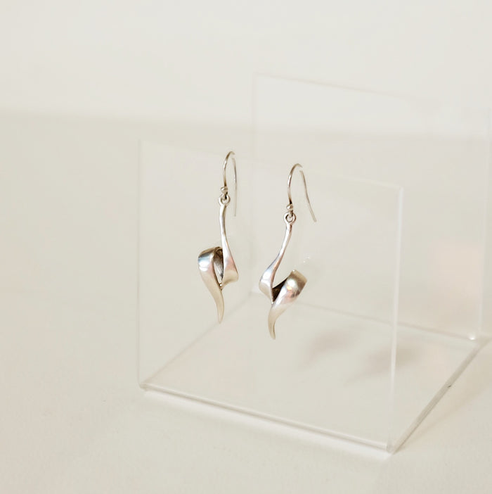 Vintage Sterling Silver Folded Earrings