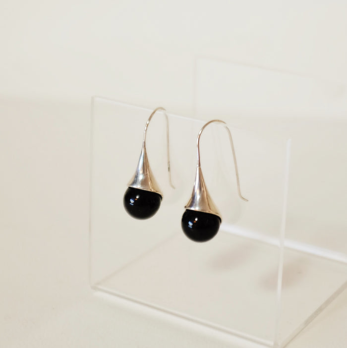Found Onyx Lily Drop Earrings