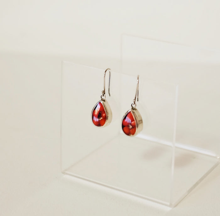 Vintage Poppy Teardrop Earrings