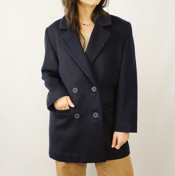 Vintage Navy Wool Double Breasted Coat