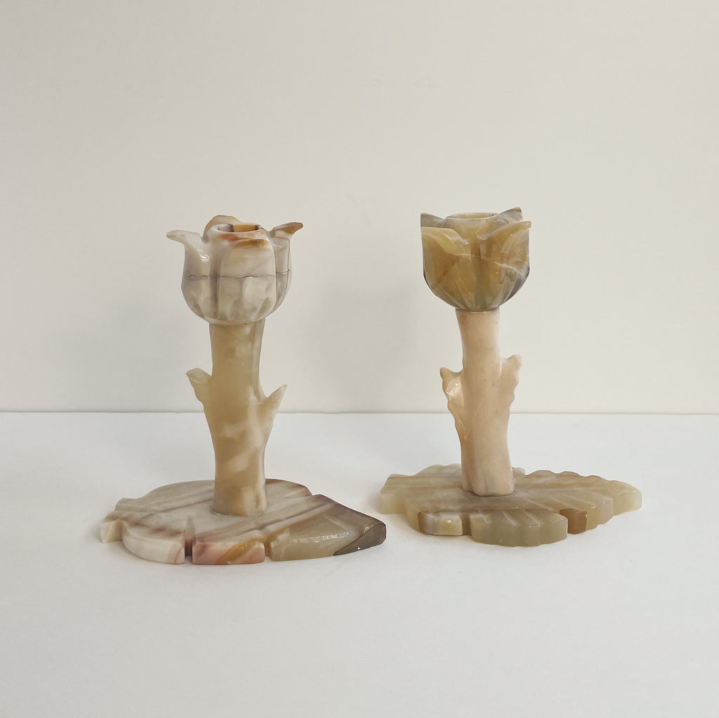 Onyx Tulip Candle Holders