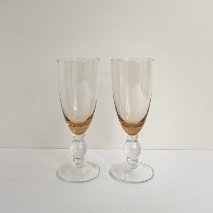 Tangerine Bubble Stem Glasses