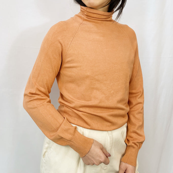Vintage Sorbet Silk Ribbed Turtleneck