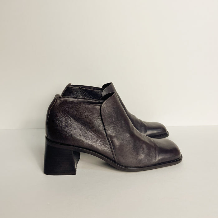 Vintage Coffee Leather Ankle Boot