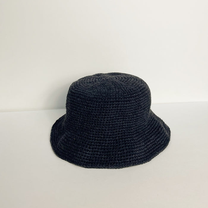 Vintage Soft Black Woven Bucket Hat